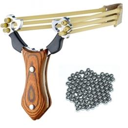 SET: Umarex Profi Stein-Schleuder aus Stahl und mit Holz-Griff und Gummiband + 100 Oramics® Stahlkugeln Munition -