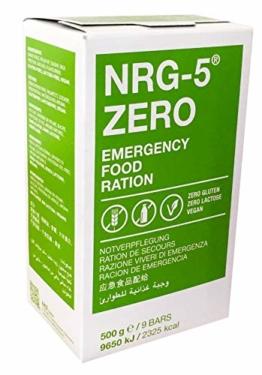 Notverpflegung NRG-5 ZERO Glutenfrei Survival 500g Outdoor Notration Notvorsorge | 9 Riegel Survivalnahrung Expeditions Grundausstattung wie EPA - 1