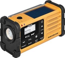 Sangean MMR-88 DAB+ tragbares Kurbelradio (UKW/DAB+ Tuner, Taschenlampe, integrierter Li-Ion-Akku, Kopfhöreranschluss) gelb/schwarz