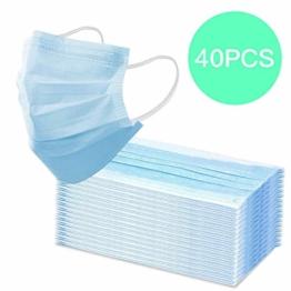 40 Stück Einweg Atem Mundschutz Hygiene Atem-Schutz Maske OP Gummiband 3-Lagig Nasenbügel (Blau) - 1