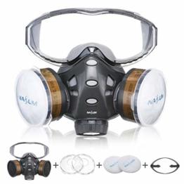 Atemschutzmaske NASUM Schutz Halbmaske mit Schutzbrille für Farbspritz, Staub, Schutz Geruchsminderung für Sprüh-, Sanierungs-,Lackier- und Schleifarbeiten - 1