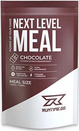 Runtime Next Level Meal - vollwertiger Mahlzeitersatz für langanhaltende Sättigung, Energie, Konzentration und Leistungsfähigkeit, mit Vitaminen und Nährstoffen, 1 Portion (150g) (Chocolate) - 1