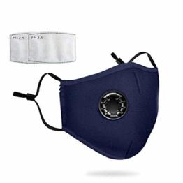 Staubmaske mit 2 Filtern Atemschutzmaske Mundmaske Gesichtsmasken Staub Anti-Verschmutzungs-Anti-Smog PM2.5 Waschbar Wiederverwendbar zum Reiten Staubdichte Kohlefilter Baumwolle - 1